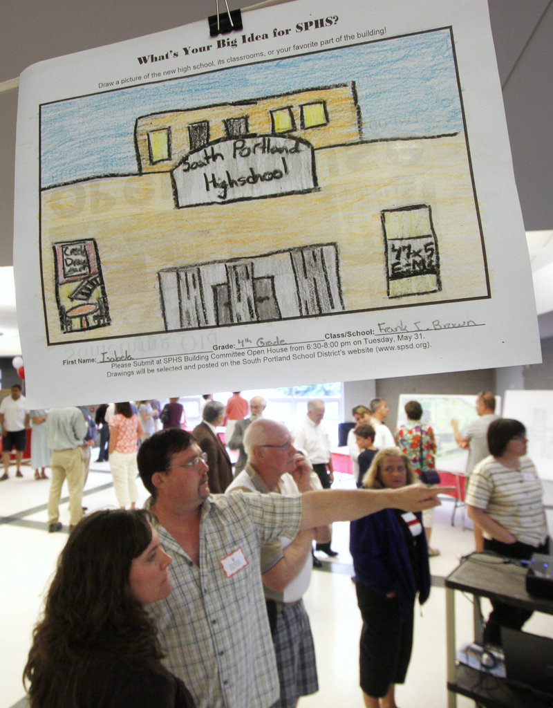 A drawing of South Portland High School created by a fourth-grader hangs from the ceiling at the open house Tuesday.
