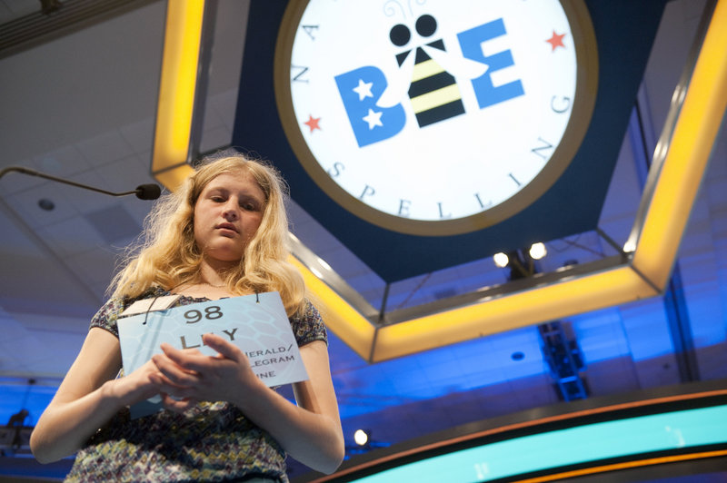Lily Jordan, 14, of Cape Elizabeth competes in the preliminary rounds of the Scripps National Spelling Bee under way at the Gaylord National Resort and Convention Center in National Harbor, Md., on Wednesday.