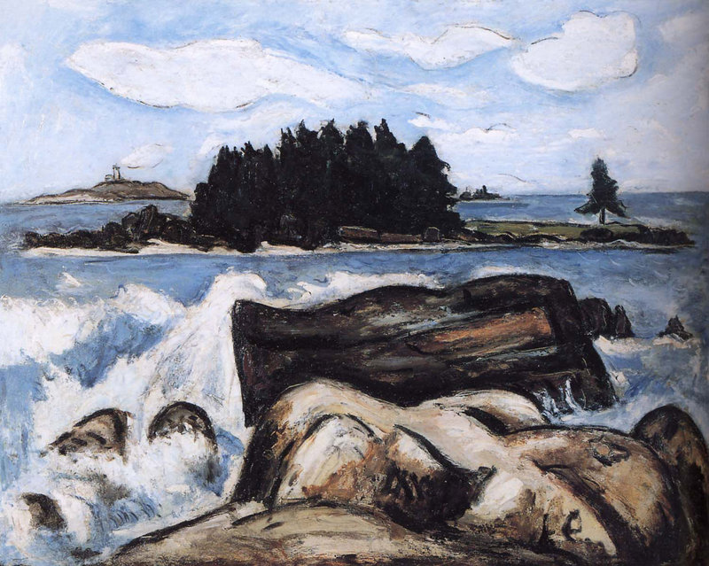 "Marsden Hartley's ""Jotham's Island (now Fox), Off Indian Point, Georgetown, Maine,"" from ""Maine Moderns: Art in Seguinland, 1900-1940,"" opening Saturday at the Portland Museum of Art."""