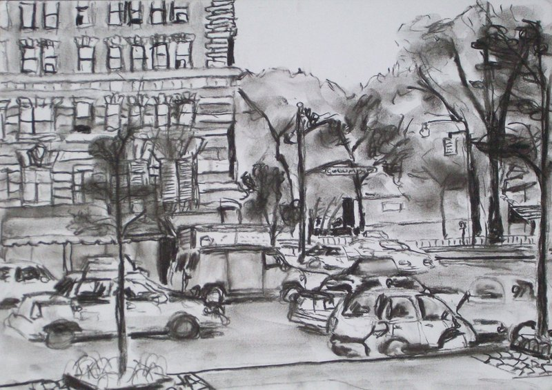 """""""Columbus and West 81st Street"""" by James Frederic Rose."""