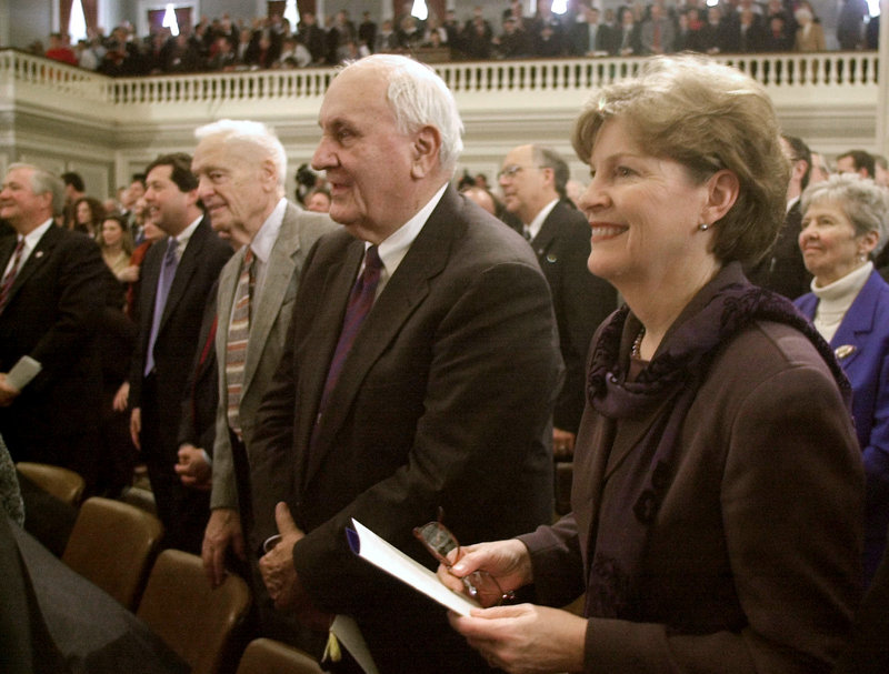 Former Gov. Walter Peterson, center, attended ceremonies in 2003 for incoming Gov. Craig Benson. Two other former New Hampshire governors who attended were Jeanne Shaheen, right, and Hugh Gregg, center left.