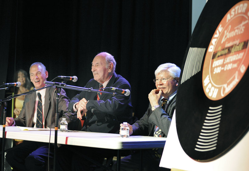 Maine performers Tony Boffa, left, and Steve Romanoff, right, join 91-year-old Dave Astor during the reunion show. Richard D'Abate, executive director of the Maine Historical Society, which hosted the reunion, said he didn't realize how