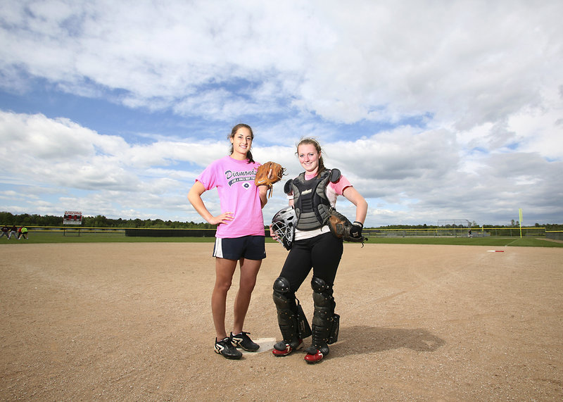 Alexis Bogdanovich, left, and Katlin Norton have played softball together since Little League. With Bogdanovich on the mound and Norton behind the plate, South Portland stands a good chance of repeating as Class A champion.