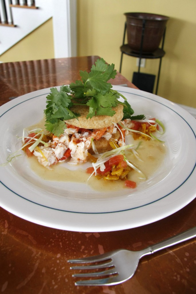 "The cookbook launch event at MC Perkins Cove, a brunch, featured some of the dishes from ""Maine Classics,"" including lobster shortcake with rum vanilla sauce, the entree pictured on the book's cover."