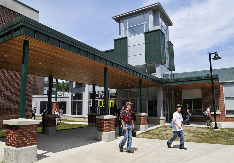 Officials at Bonny Eagle High School in Standish, seen Tuesday, chose to evacuate the school after a bomb threat in April and then canceled classes in advance after a threat in May.