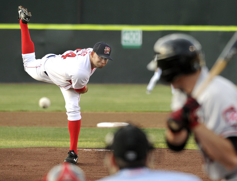 Stephen Fife of the Sea Dogs delivers a pitch during a game Tuesday night against the Richmond Flying Squirrels at Hadlock Field. Fife pitched 6 1⁄3 hitless innings to help Portland to a 6-0 victory.