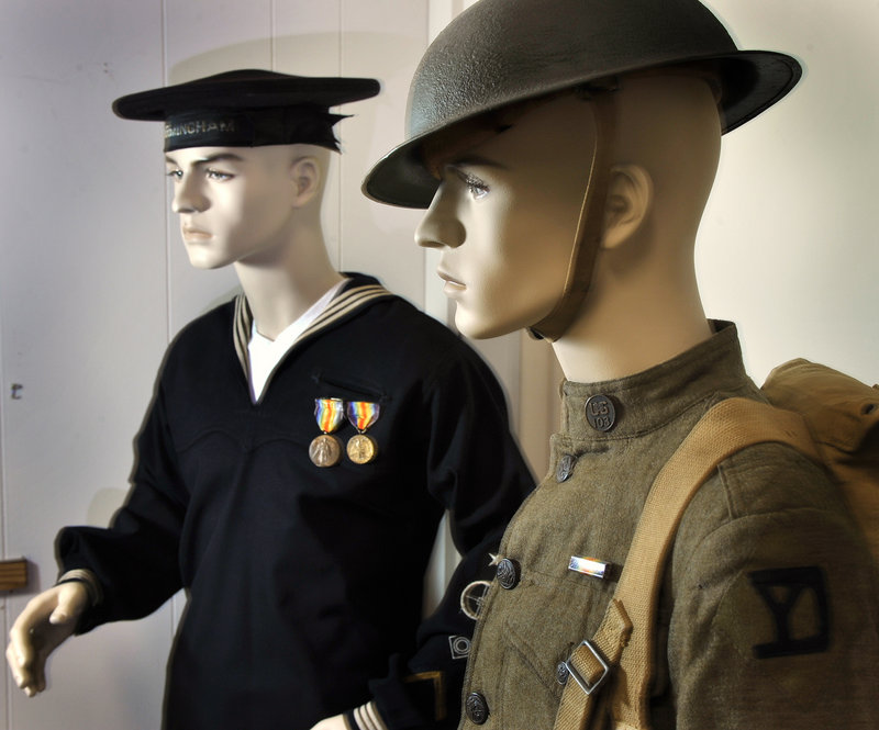 The hundreds of items on display at the new Maine Military Museum and Learning Center in South Portland include Navy and Army uniforms from World War I.