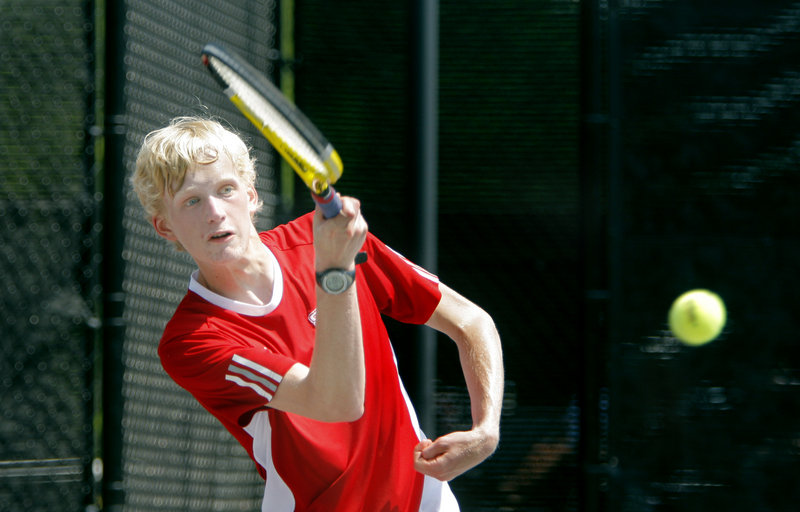 Alex Henny of Scarborough won his match at first singles Wednesday as the Red Storm beat Kennebunk 3-2 to win the Western Class A team tennis title.