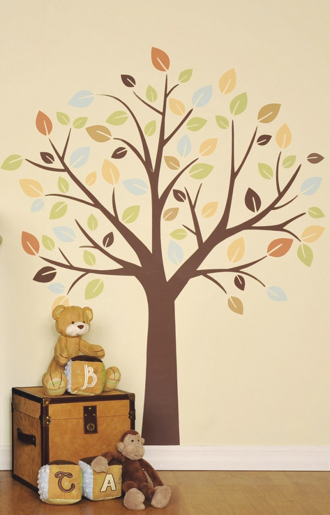 A Little Boutique wall decal of a tree. Inexpensive and easy to install, wall decals are popping up in every room of the house.