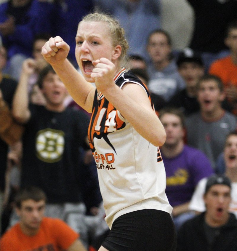 Alyssa Drapeau did it all for Biddeford last season, helping the Tigers to their first volleyball state championship.