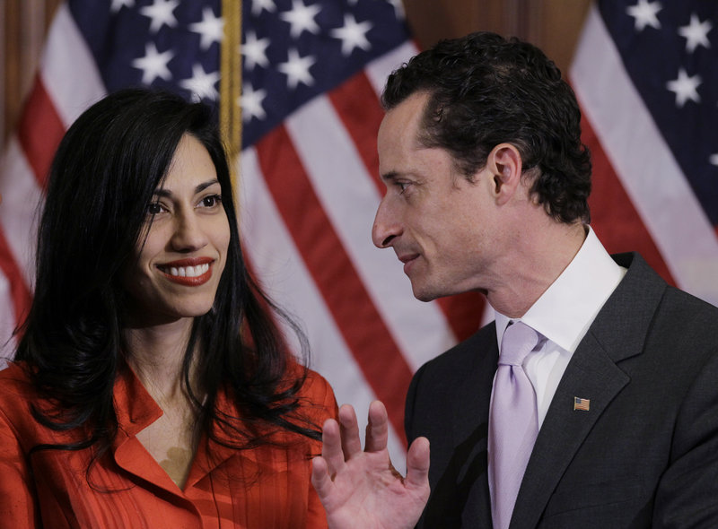 Huma Abedin and her husband, Anthony Weiner, on Capitol Hill in January 2011