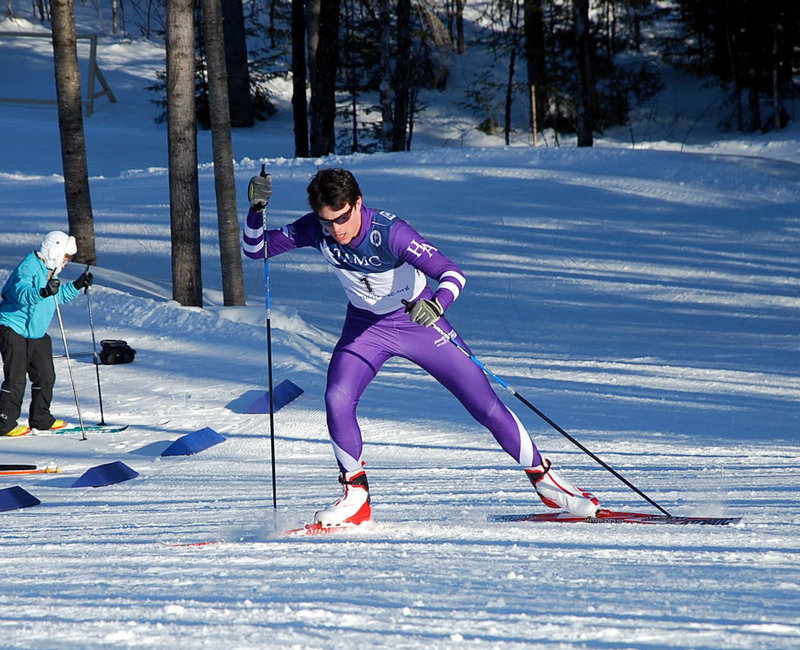 Ethan Burke of Hampden Academy placed in the top 10 in all four events at the Class A skiing championships.