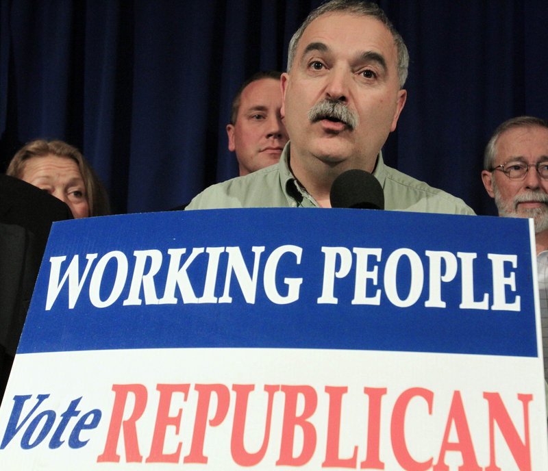 Charlie Webster, chairman of the Maine Republican Party, attends a rally at the State House on Nov. 3, the day after Paul LePage was elected governor.