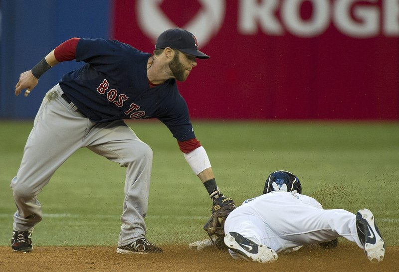 Jed Lowrie applies a tag to Toronto's Jayson Nix on a stolen-base attempt during their game Friday in Toronto. Nix was safe on the play, but the Red Sox went on to take a 5-1 win for their seventh consecutive victory.