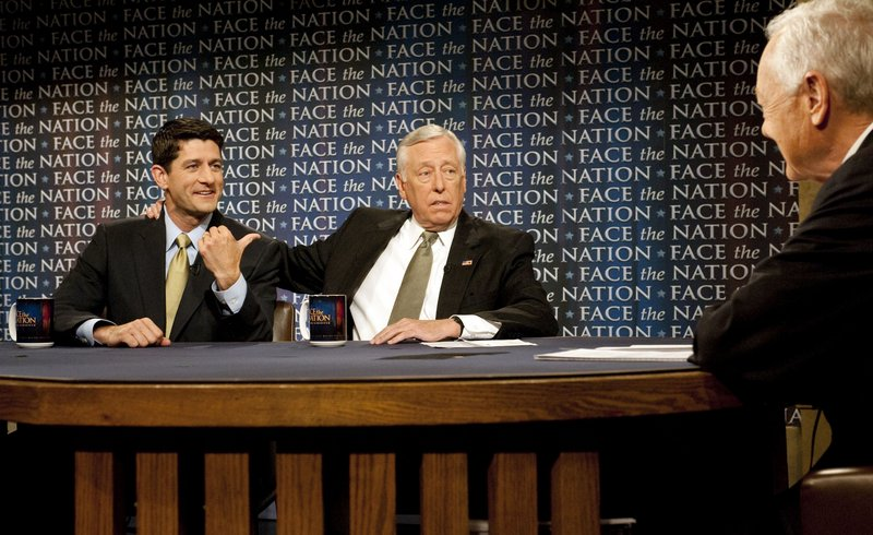 """Rep. Paul Ryan, R-Wis., left, and House Democratic Whip Steny Hoyer called on Rep. Anthony Weiner, D-N.Y., to resign Sunday. """"This is a ridiculous distraction,"""" Ryan said."""