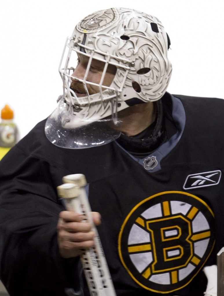 Tim Thomas has allowed just six goals in the Stanley Cup finals, but the Bruins trail three games to two.