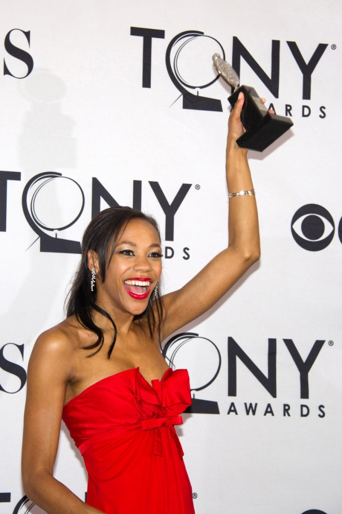 "Nikki M. James appears backstage at the 65th annual Tony Awards in New York on Sunday. James won the award for best performance by an actress in a featured role in a musical in ""The Book of Mormon."""