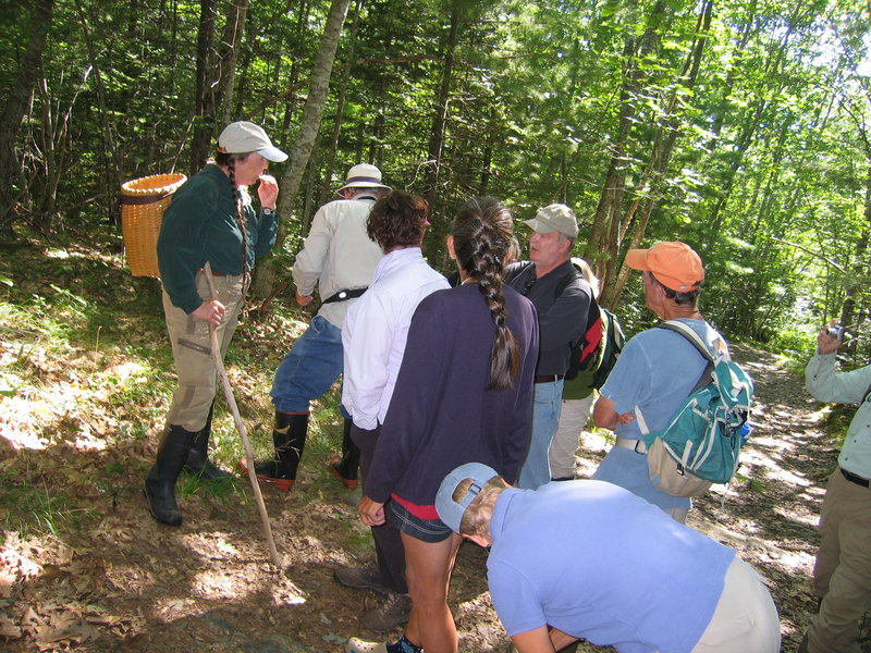Naturalist Wanda Garland, at left, shown leading a previous walk, will take a group on a medicinal plant walk from 10 a.m. to noon Thursday. The exploration will take place on a historic property on the St. George River in Warren where medicinal plants have been collected. The land is now protected with a conservation easement held by Georges River Land Trust. Please call the trust office at 594-5166 to register for this free event and receive directions.
