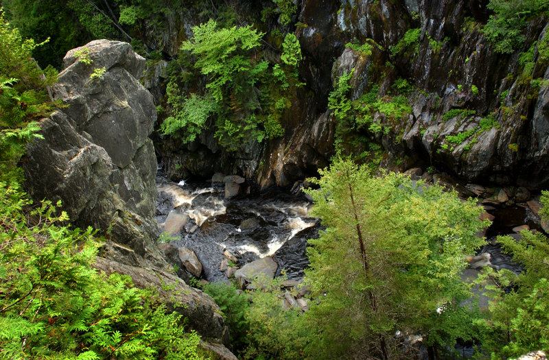 The trail follows the edge of the gorge at Gulf Hagas, called the Grand Canyon of Maine, north of Brownville Junction.