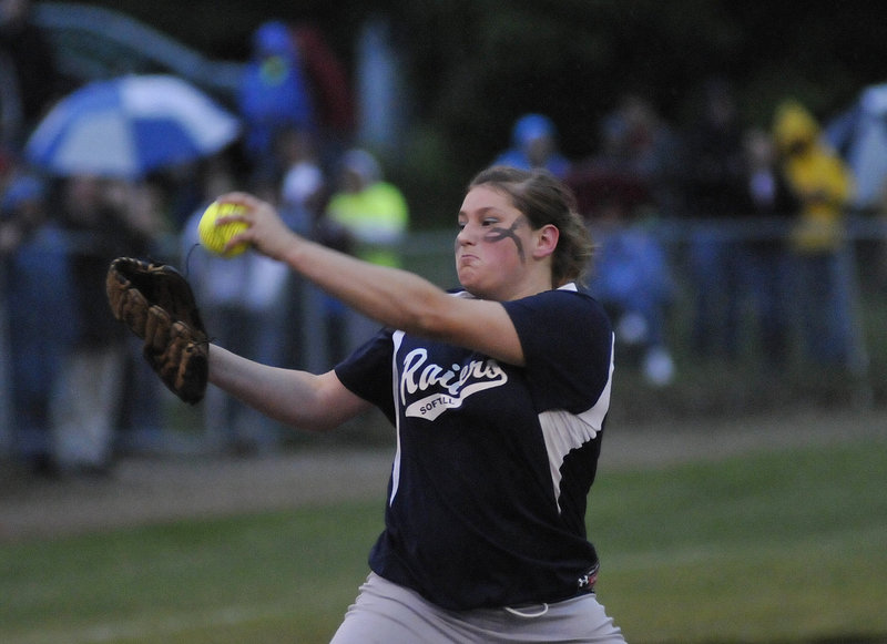 Sarah Harriman of Fryeburg Academy had a no-hitter until one out in the seventh inning and finished with 11 strikeouts against Oak Hill.