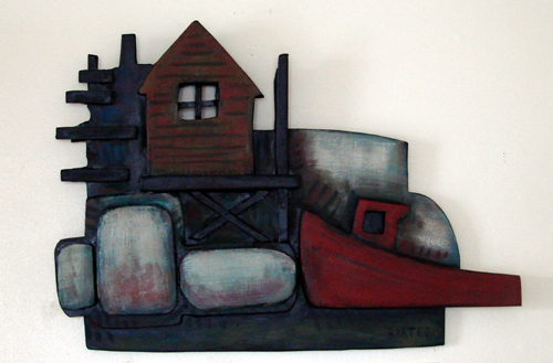 """The Pier,"" wood relief by Matt Barter."