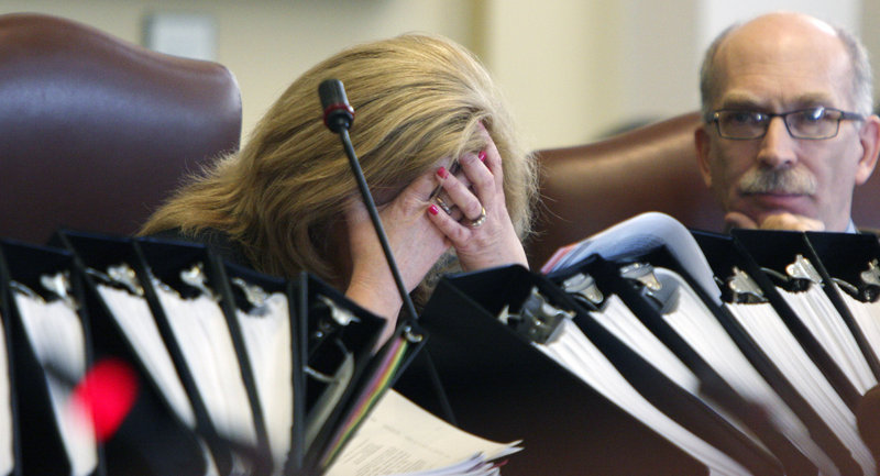 Assistant Majority Leader Debra Plowman, R-Hampden, reacts during a long debate on the budget at the State House in Augusta on Thursday, before the Senate gave final approval to a $6.1 billion budget. At right is Sen. Richard Rosen, R-Bucksport.