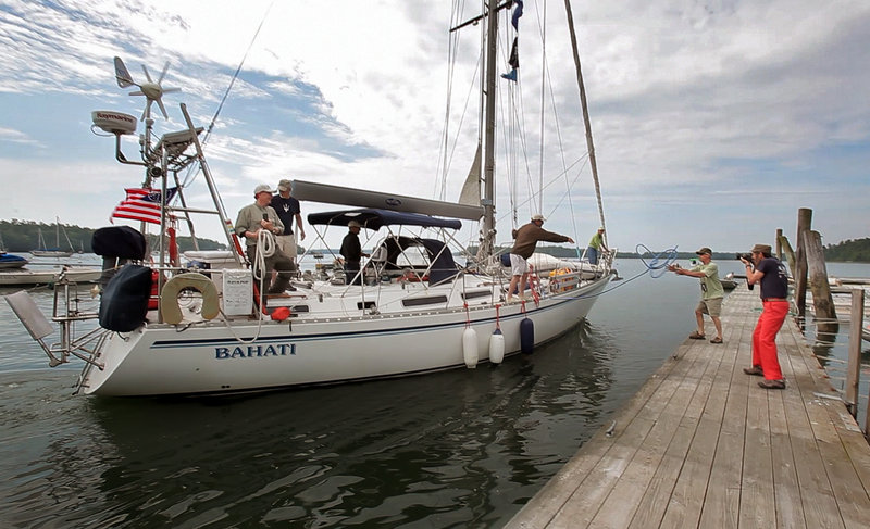The Bahati returns to Freeport on Friday after an almost five-year circumnavigation of the globe, with friends and family joining Nat and Betsy Warren-White aboard the 43-foot Montevideo cutter. The Warren-Whites began their voyage in Freeport on Oct. 21, 2006.
