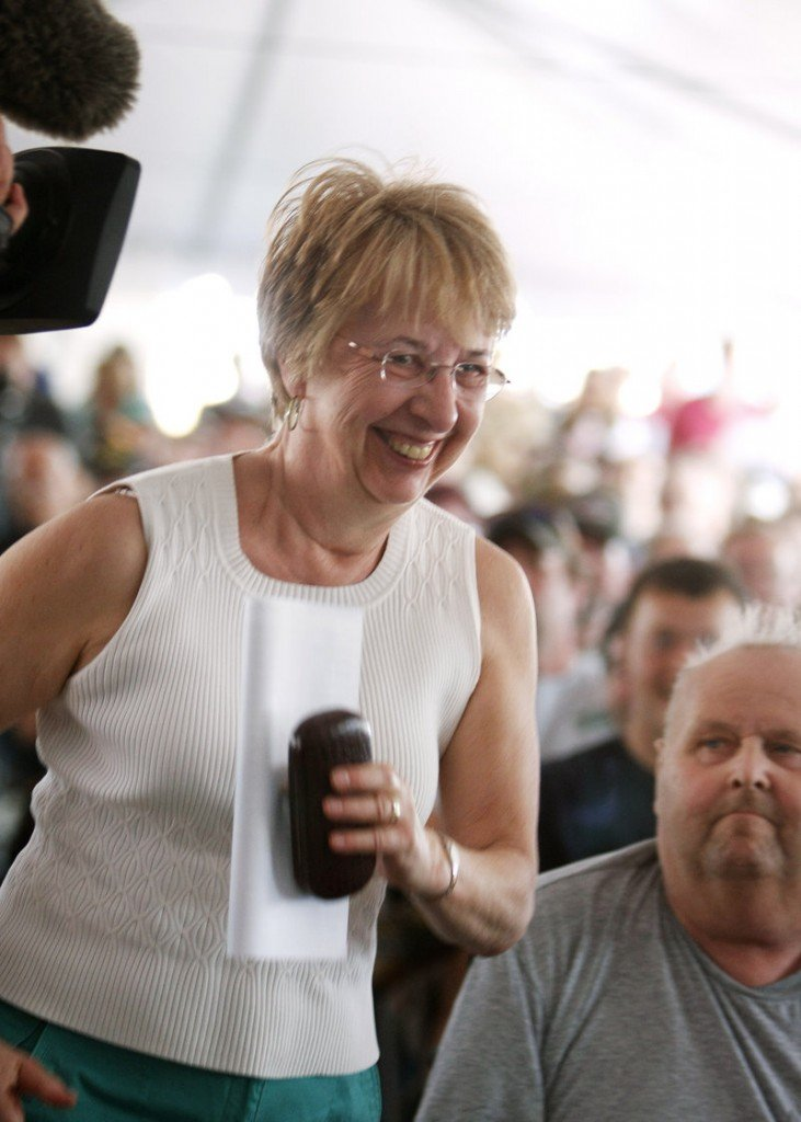 All eyes are on Rep. Anne Haskell of Portland as she is the first person present to have her name drawn in the moose lottery at Cabela's in Scarborough on Saturday.