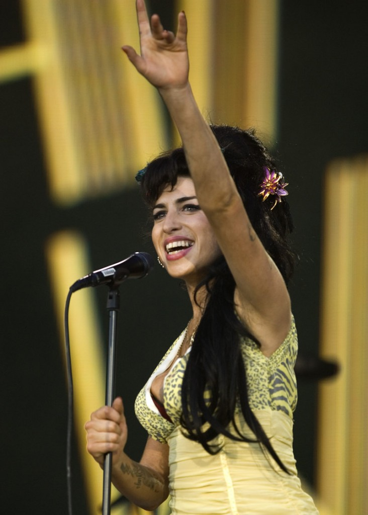 British singer Amy Winehouse performs during the Rock in Rio music festival in Arganda del Rey, on the outskirts of Madrid, on July 4, 2008. Winehouse has canceled two dates on her current tour.