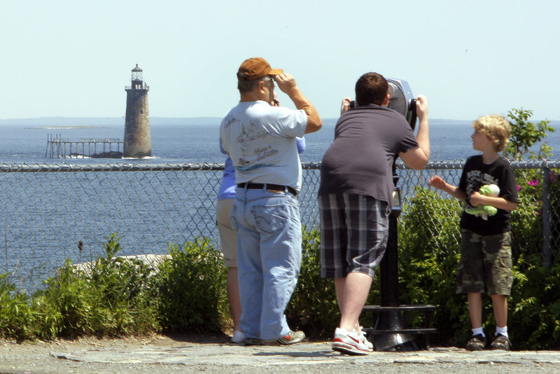 Ram Island Ledge Light is part of the scenic vista that visitors enjoy when they visit Fort Williams Park and Portland Head Light in Cape Elizabeth.