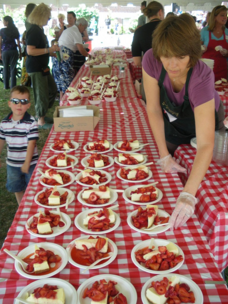 Strawberry cheesecake lines the tables at last year's Strawberry Festival in South Berwick, as it will on Saturday.