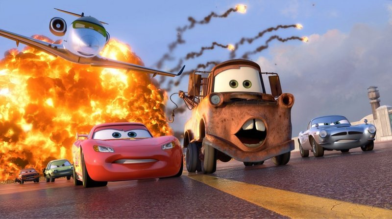 Lightning McQueen (voiced by Owen Wilson), Mater (Larry the Cable Guy) and Finn McMissile (Michael Caine) in