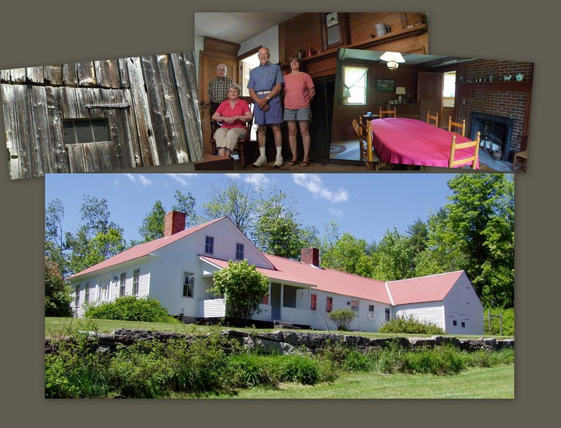 This collage shows the 1811 homestead owned by the Harrison Historical Society. It needs a new roof, so the society is holding an open house and barbecue July 16 to raise money. Historical society members working on the homestead project include, from left, Allan Denison, Elaine Smith, Gerry Smith and Martha Denison.