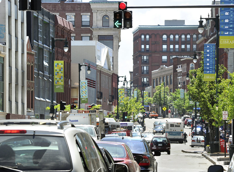 Halting left turns along Congress Street and reversing some one-way streets are some of the solutions being considered to relieve congestion on the crowded downtown road.