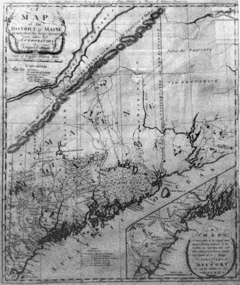 "From Martha Stewart's collection, a map of the ""District of Maine"" (from James Sullivan's book), by Osgood Carlton, 1795."