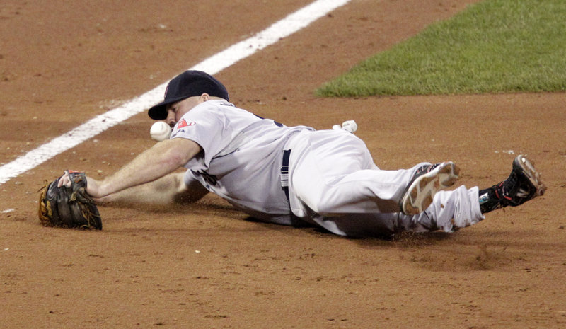 Third baseman Kevin Youkilis of the Boston Red Sox fails to handle a sixth-inning grounder hit by Neil Walker during a 3-1 victory for the Pittsburgh Pirates at home. After losing twice at home to San Diego, Boston has a three-game losing streak.