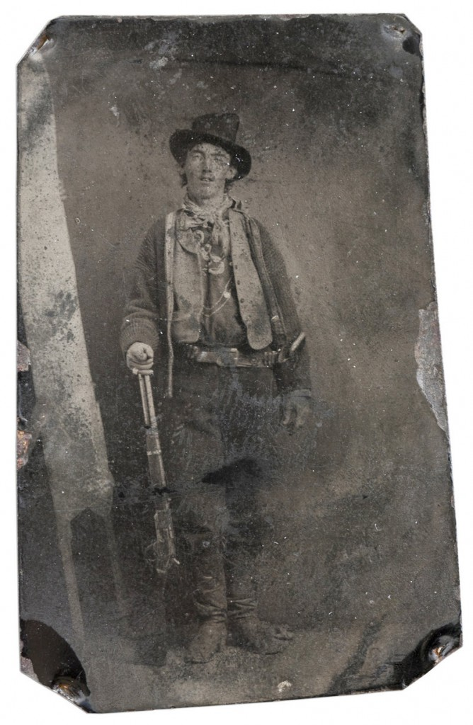 This tintype of famed outlaw Billy the Kid was taken in 1879 or 1880 in Fort Sumner, N.M. It was sold to a private collector for $2.3 million at an auction in Denver on Saturday night.