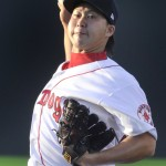 Junichi Tazawa's first start in Double-A after a month of rehab work in Class A did not go as well as hoped. Tazawa, recovering from Tommy John surgery, lasted just 2/3 of an inning.