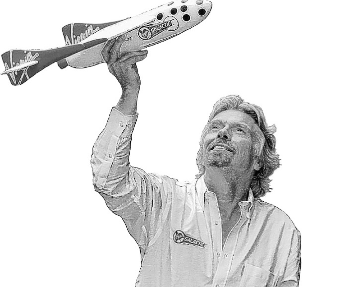 British entrepreneur Sir Richard Branson holds a model of SpaceShipOne, a privately developed manned rocket created by aviation designer Burt Rutan and funded by billionaire Paul Allen. Branson's Virgin Group has entered an agreement to license the technology to develop the world's first privately funded space travel, Virgin Galactic.
