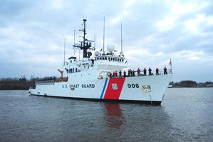 The Coast Guard Cutter Tahoma returns to the Portsmouth Naval Shipyard in Kittery after a  deployment to the Caribbean in this this Feb. 26, 2010, photo. Coast Guard photo