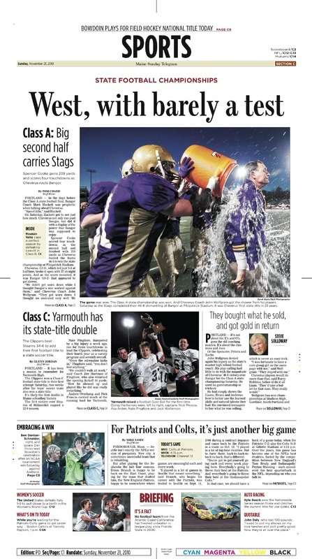 Second place, sports page design: Jeff Hannon,