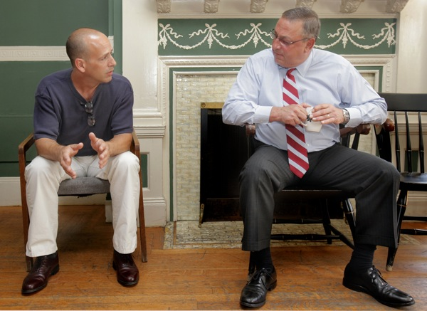 Frank Lopes, left, talks with Gov. Paul LePage at Serenity House in Portland on Monday, July 25, 2011. The governor paid a visit to the house, which is a residential addiction treatment program. Lopes graduated from the program in March.