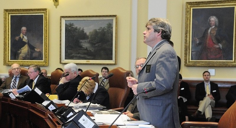Sen. David Trahan, R-Waldoboro, shown during a Senate debate in February, should give up his seat after being named executive director of the Sportman's Alliance of Maine.