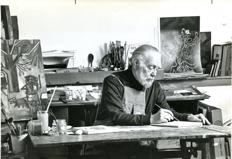 Charles Martin in his studio on Monhegan Island, date unknown.