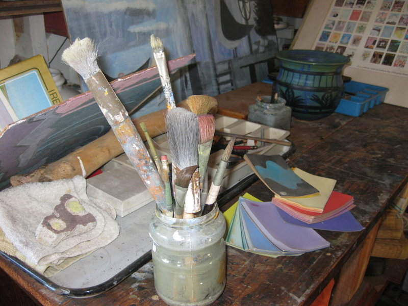 Some of Martin's brushes, photographed in the late artist's studio. Greenhut Galleries owner Peg Golden is displaying the brushes and other items along with The New Yorker covers.