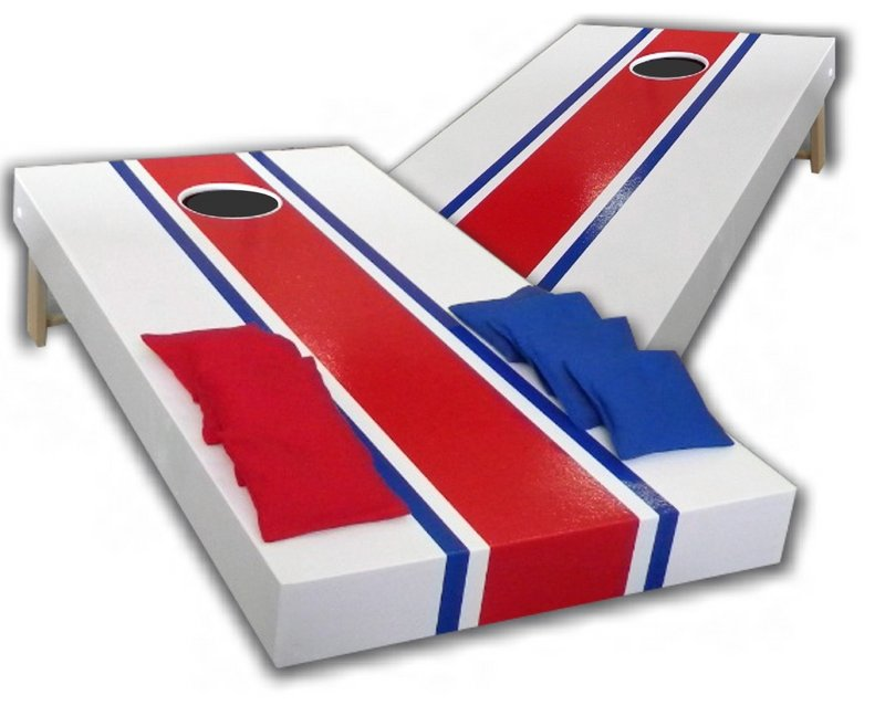 Cornhole sets are turning up in more backyards as the game catches on, especially with the 20-something set. Official platforms are 2 feet wide by 4 feet long, with a 6-inch hole.