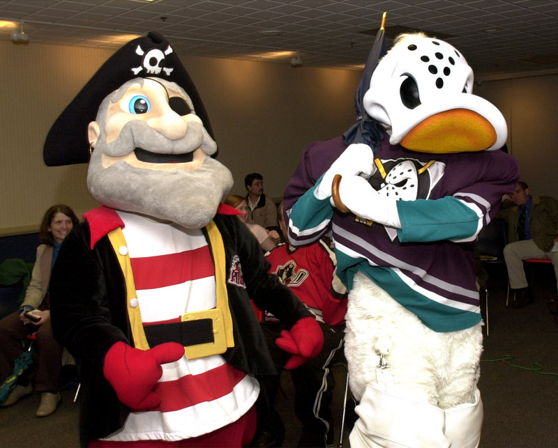 Anaheim Ducks, 2005-2008: Pirates' mascot Salty Pete hams it up with the Anaheim Ducks mascot in 2005.