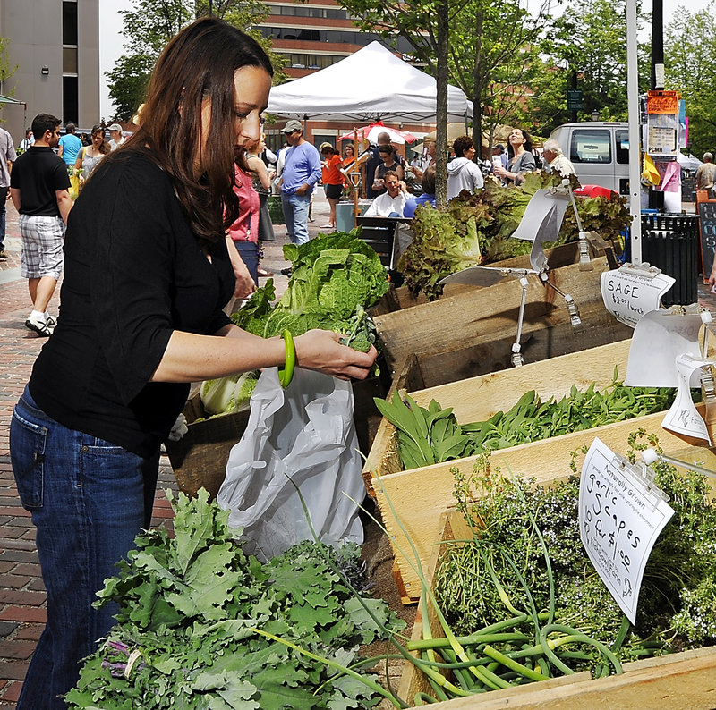 Stephanie Hedlund checks out the produce from Fishbowl Farm in Bowdoinham at the Portland Farmers Market.