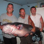 Nick Anderson, left, his father, Richard, and his stepbrother Jeramie Mullis pose with a 143-pound blue catfish that the younger Anderson caught at Buggs Island Lake in Virginia. A tourism industry has grown around the fish.