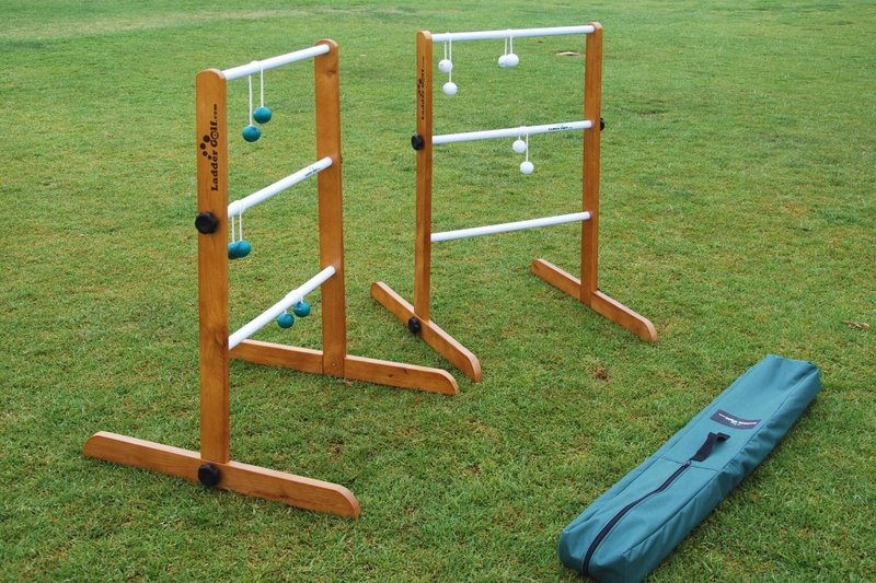 This Ladder Golf set comes with two ladders, six bolas and a carrying case. Do-it-yourselfers can build their own ladder toss sets using PVC pipe and rubber balls.